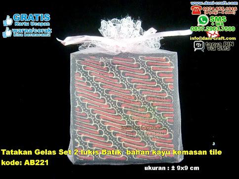 Tatakan Gelas Set Lukis Batik Bahan Kayu Kemasan Tile
