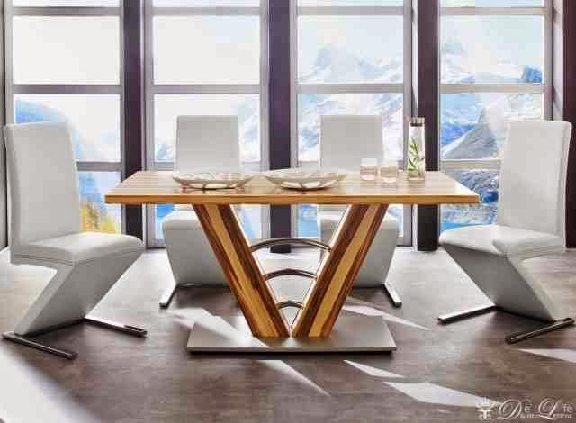 natural wood dining table design and upholstered chairs