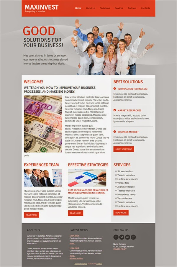 Maxinvest - Free Joomla! Template