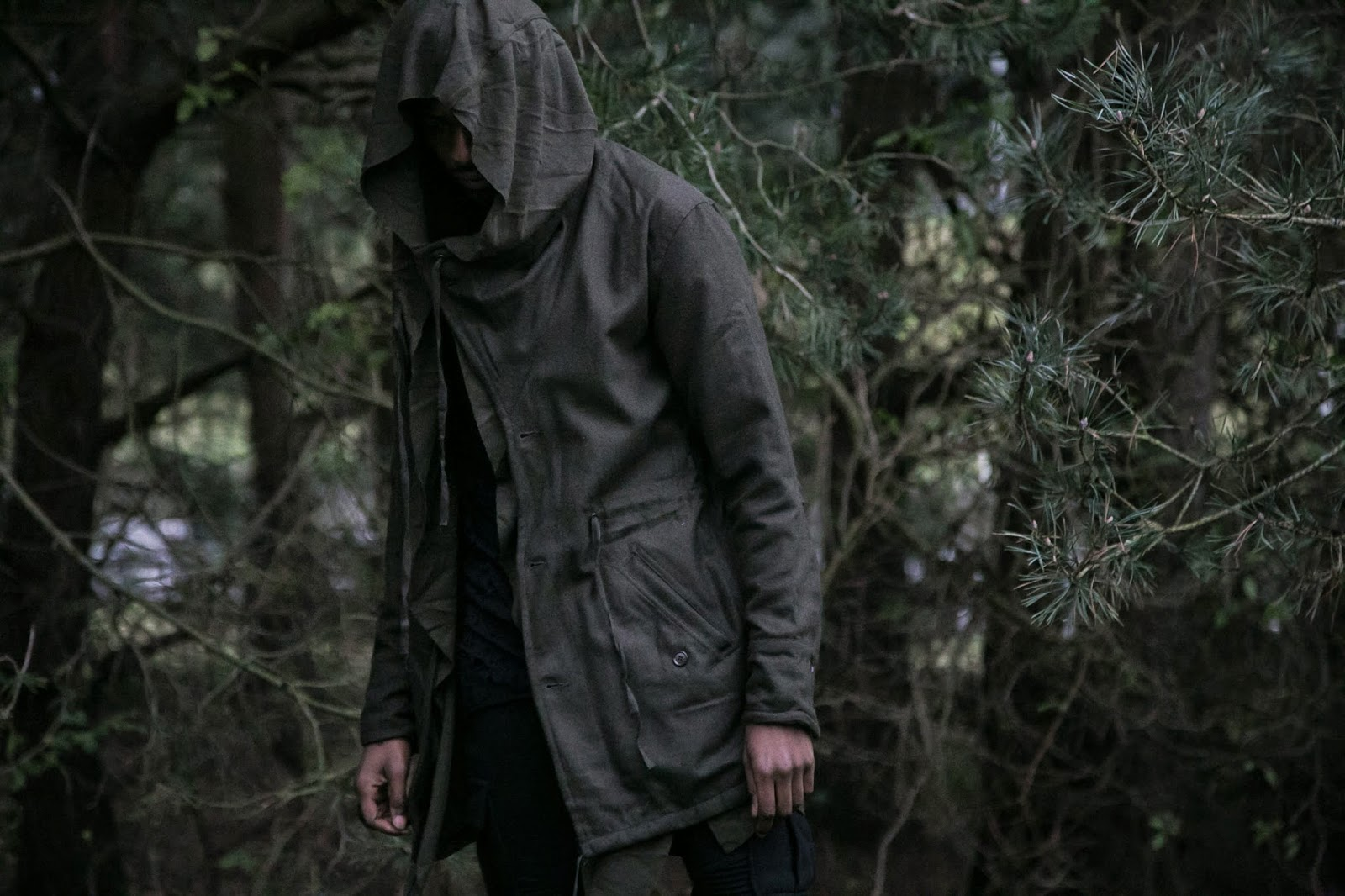 Rabbithole London ss 15  khaki  layered hooded jacket