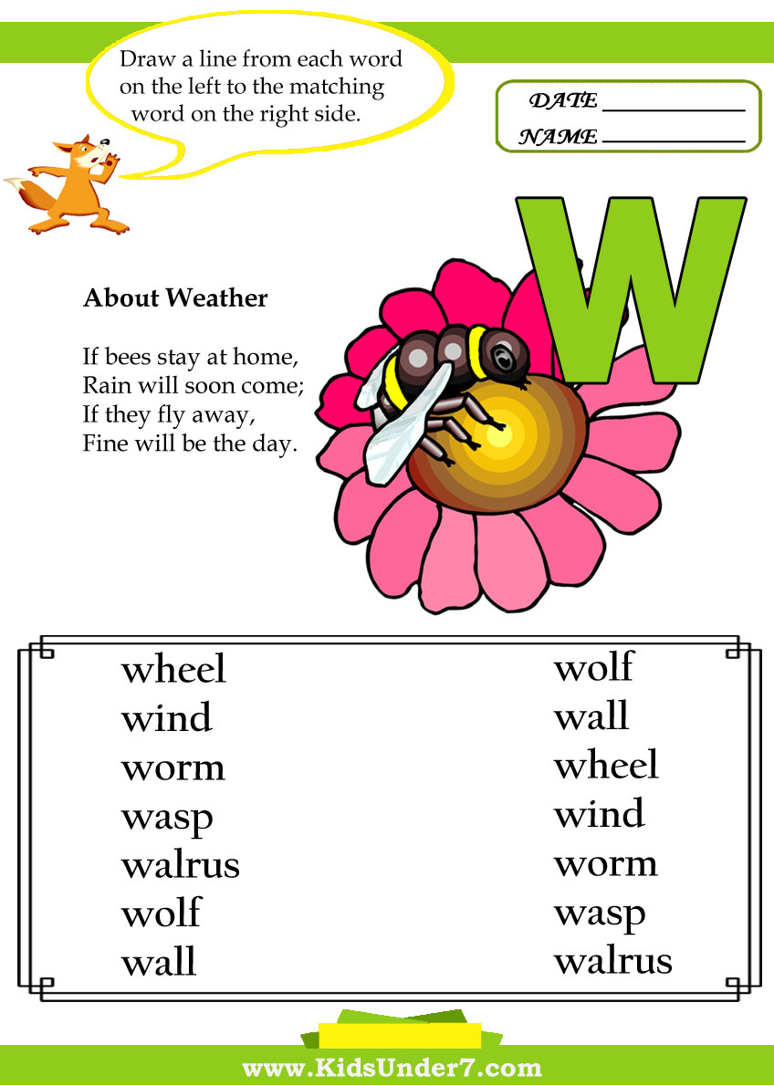 Kids Under 7 Letter W Worksheets – W Worksheets