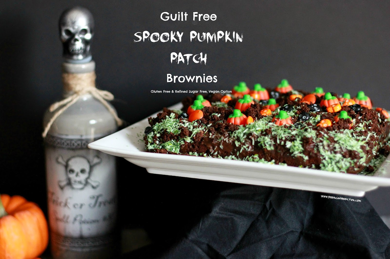 Feeding My Addiction: Guilt Free Spooky Pumpkin Patch Brownies