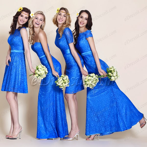 Синее платье подружке невесты