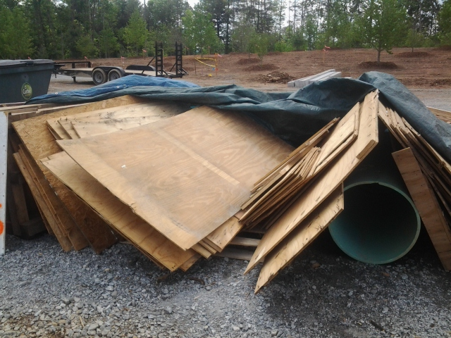 plywood scraps availabe for repurposing at the Mills River Sierra Nevada Brewery site