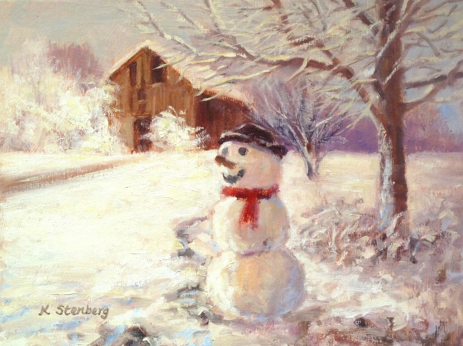 kim stenbergs painting journal quotsnowman and barnquot oil