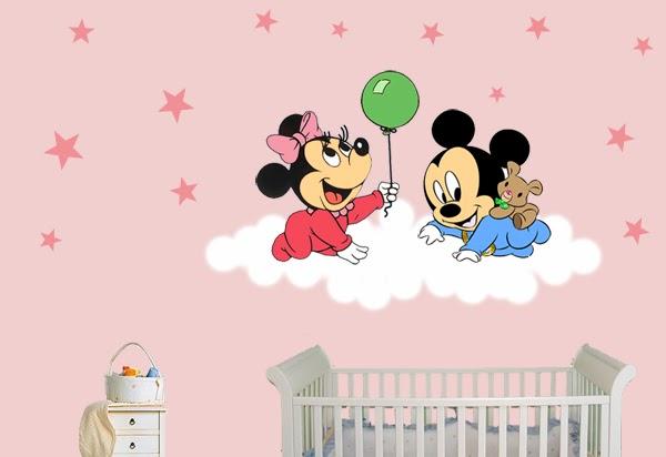 Pegatinas infantiles pegatinas mickey y minnie beb for Pegatinas habitacion infantil