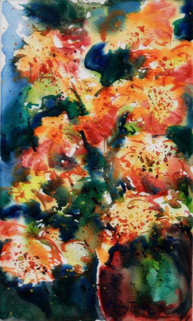 Sensation Fine Art Watercolor painting on Paper Zinnia Sonata series, Six of Eight