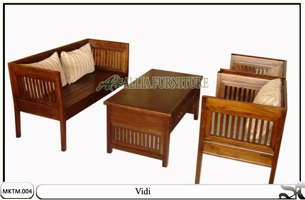 Kursi Meja Tamu Minimalis Jati Vidi Allia Furniture