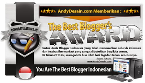 "Award Ke 7 Blog Mang Yono "" The Best Blogger's Award 2014"" Dari Mas Andy Borneo"