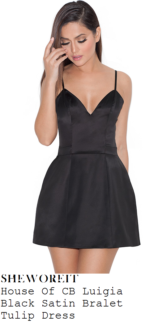 vicky-pattison-black-sleeveless-satin-tulip-mini-dress