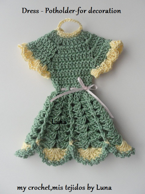 Dress Potholder for our kitchen decorations and Pattern/ Agarraollas ...