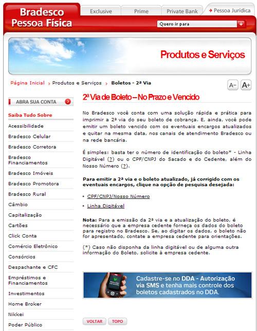 Como atualizar boleto do Banco Bradesco - Internet Banking