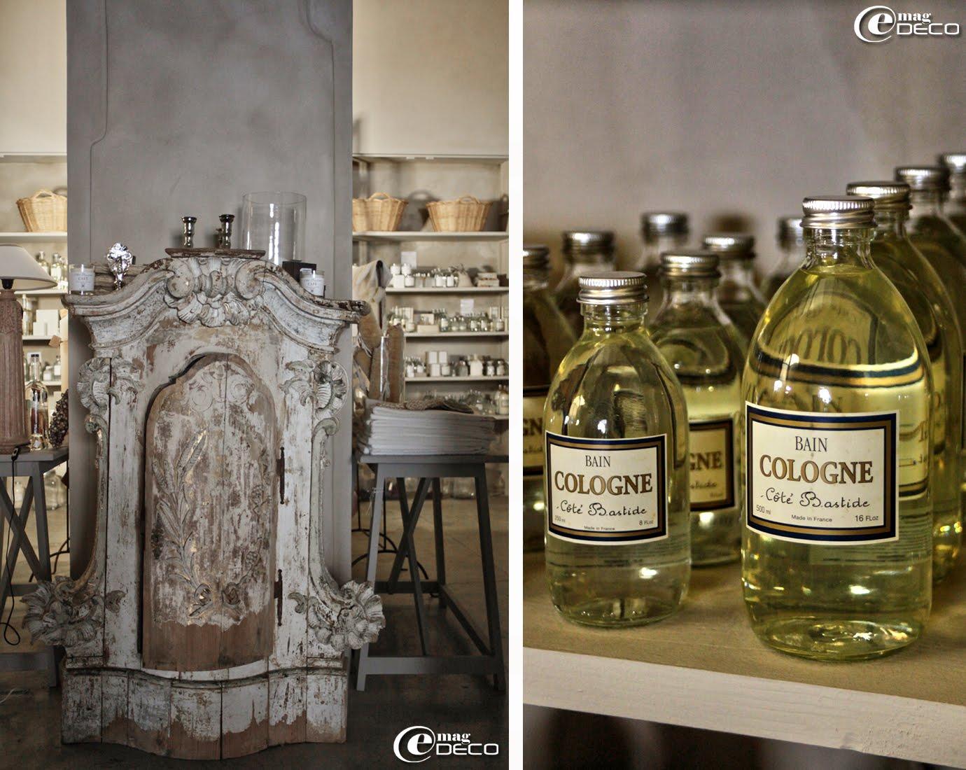 Un ancien tabernacle d'église sert de présentoir pour des bougies parfumées et des bougeoirs mercurisés de la marque Côté Bastide