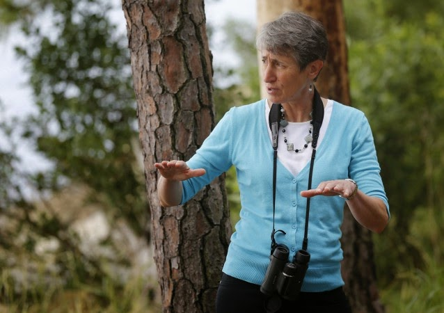United States Interior Secretary Sally Jewell talks with park rangers during a tour of Jamestown Island in Jamestown, Va., Thursday, June 5, 2014. (Credit: AP Photo/Steve Helber) Click to Enlarge.