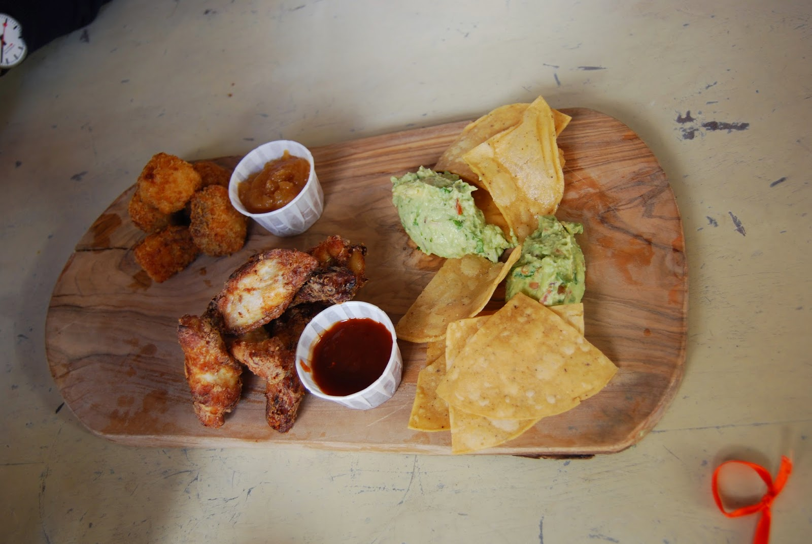chicken wings, pork belly, nachos, guacamole