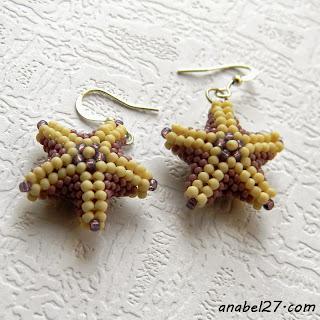 морские звезды из бисера купить сережки подарок девушке