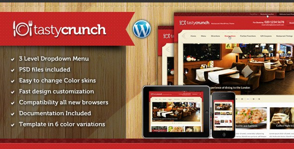 Download Free Tasty Crunch v1.0 Food Recipe and Restaurant theme