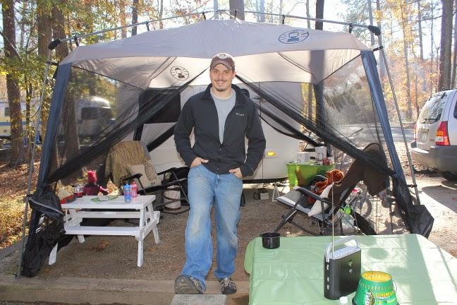 Our screen room next to the fiberglass uhaul camper at Hard Labor Creek State Park in Georgia