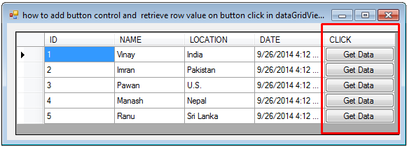 How to Add Button Control and Retrieve Row Value on Button Click in