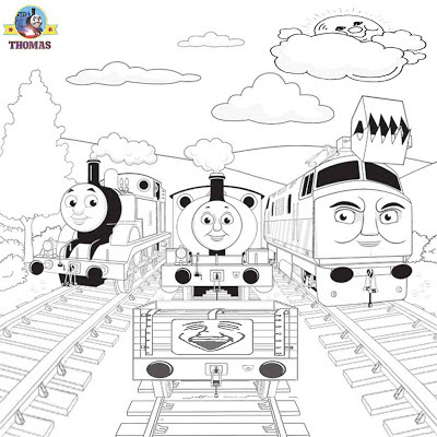 Online printable free cartoon graphic picture of Percy Diesel 10 and Thomas the train coloring pages