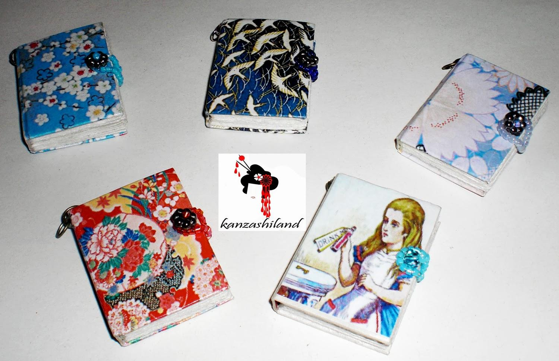 Colgantes mini libros Kanzashiland