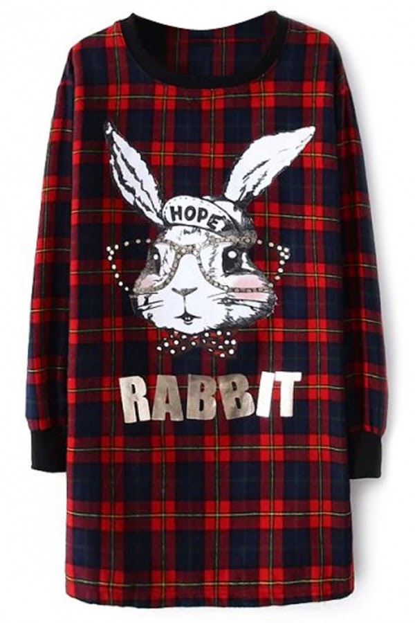 Cute Rabbit Plaid Long Sweatshirt