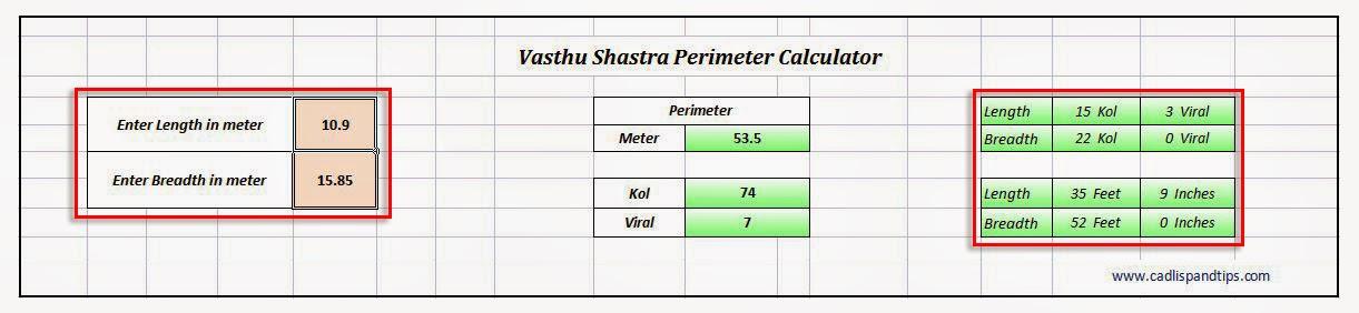 Cad Lisp And Tips Xls Vasthu Perimeter Calculator