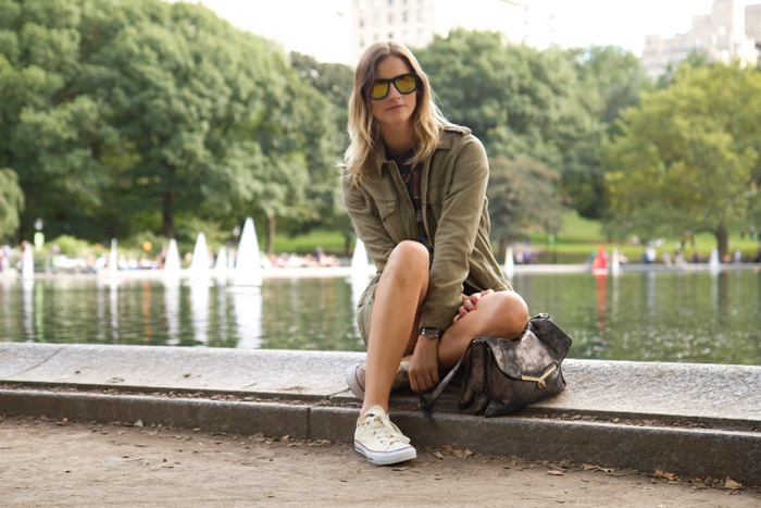 Vancouver Fashion Blogger, Alison Hutchinson, in Central Park New York, wearing a Rolling Stones band tee from Urban Outfitters, Zara black leather shorts, off-white converse sneakers, an Urban Outfitters army green military jacket, and a silver botkier valentina bag