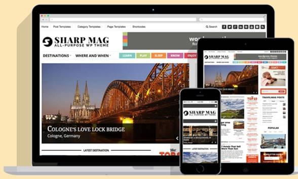 Free download Sharp Magazine Responsive WordPress Theme