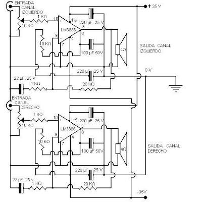 Circuito de amplificador de audio de potencias de 30 a 100w