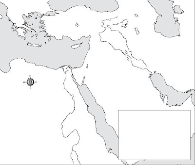 Blank map of the Middle East