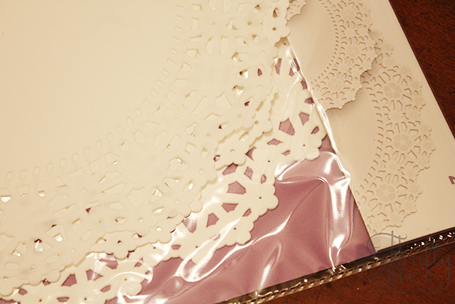 Make a cute banner out of doilies and chalkboard paint!