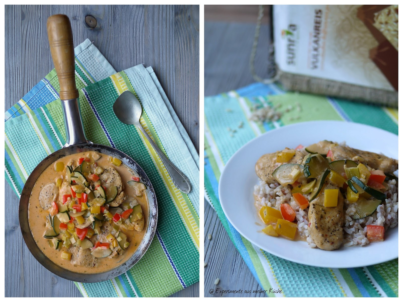 Experimente aus meiner Küche: Putenministeaks in cremiger Gemüsesoße auf Vulkanreis