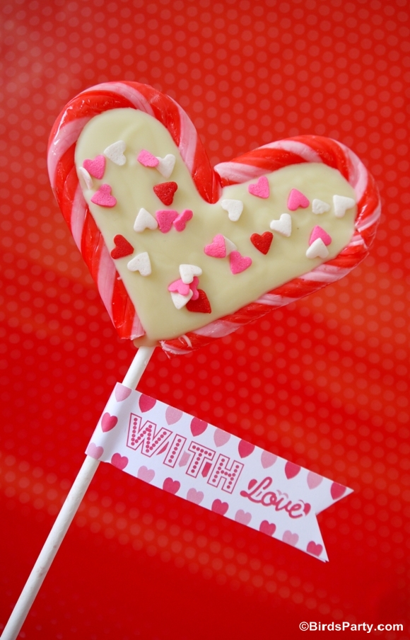 Valentine's Heart Lollipops using Candy Canes