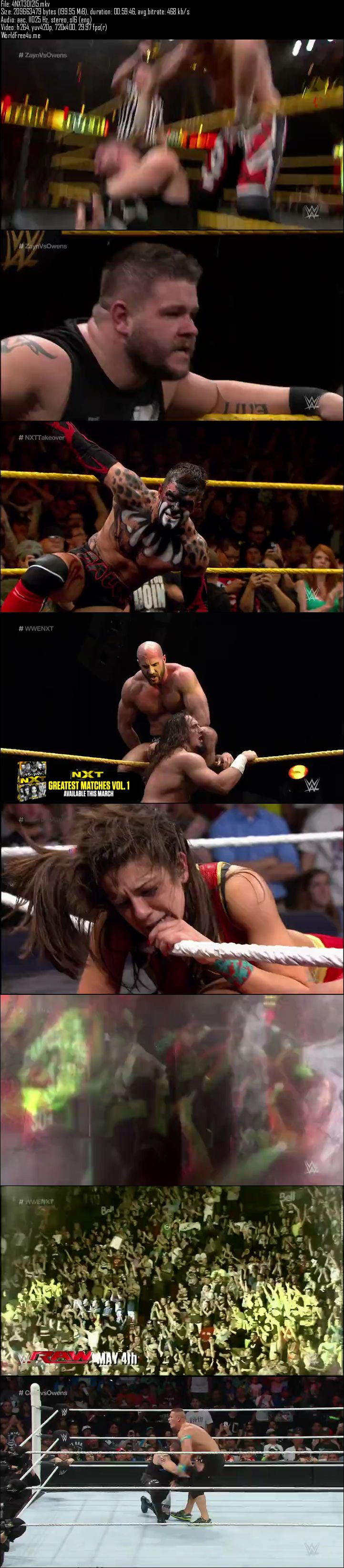Screen Shot Of WWE NXT 30th December 2015 WebDL 480P 200MB