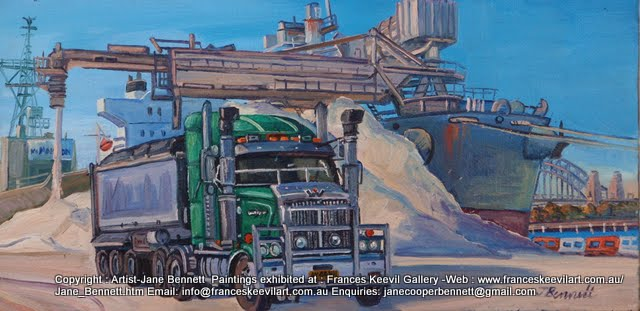 plein air oil painting of truck and salt ship at Glebe Island by artist Jane Bennett