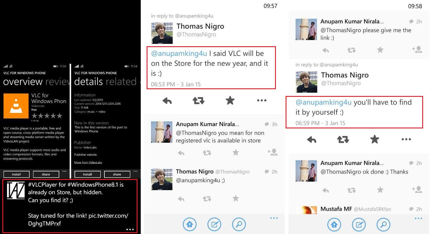 Thomas Nigro, VLC, windows phone, twitter
