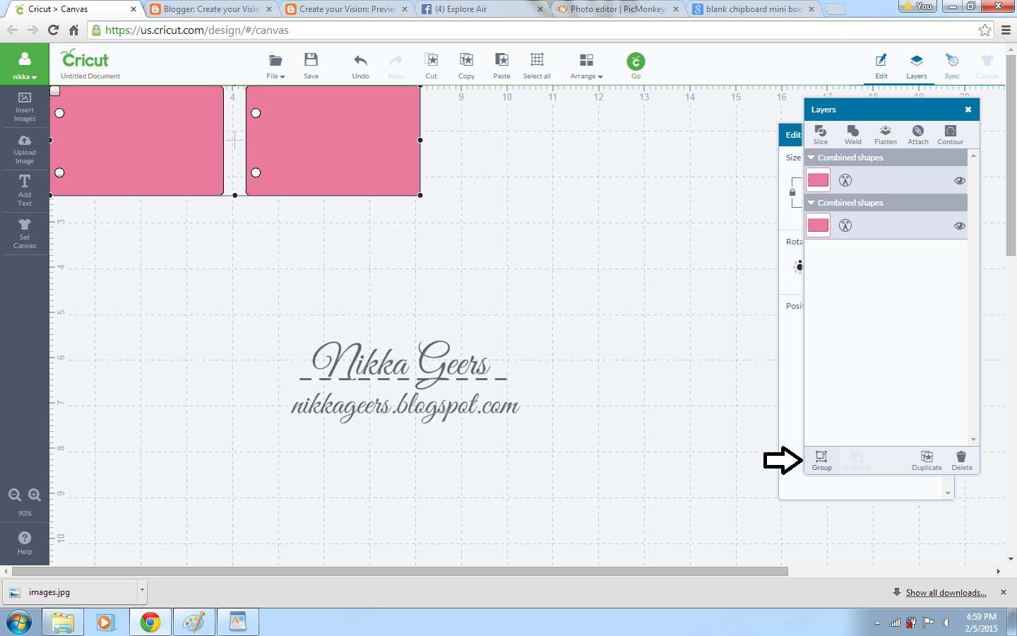 cricut how to change grid size