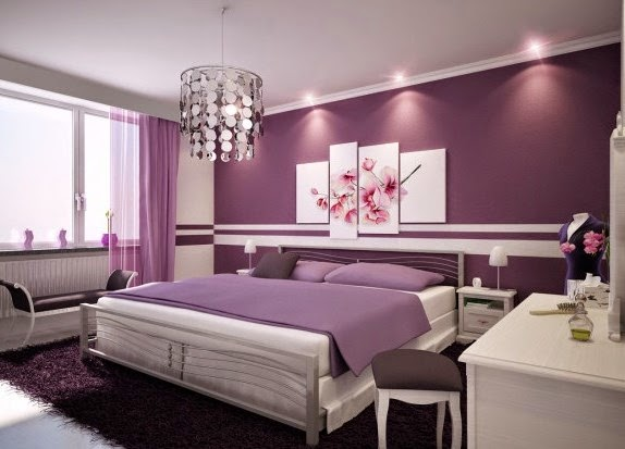 ide cat dinding kamar tidur utama warna ungu
