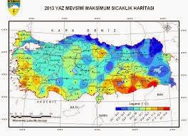 Türkiye maksimum sıcaklık harıtası