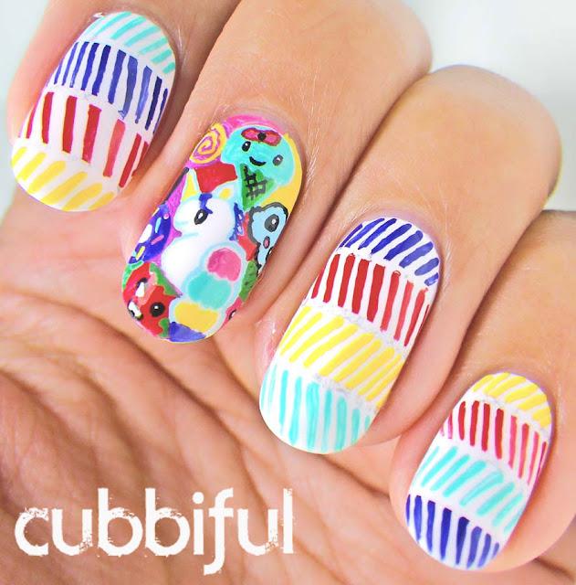 kawaii happy birthday nails