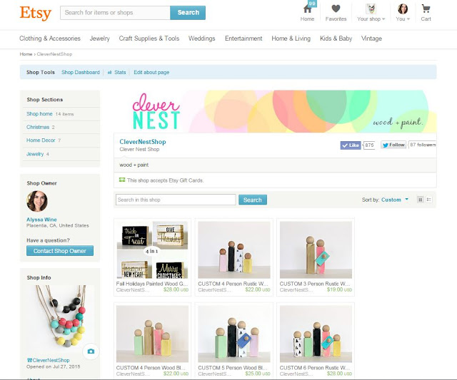 Check out my brand new Etsy shop! CleverNestShop, Wood crafts, wooden block signs, beaded jewelry