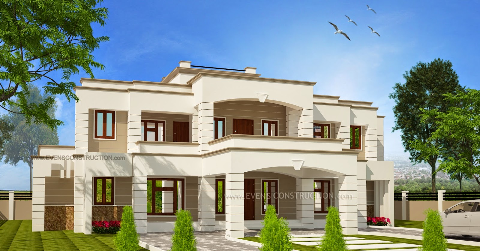 Evens Construction Pvt Ltd 5 Bhk Super Luxury Home Elevation