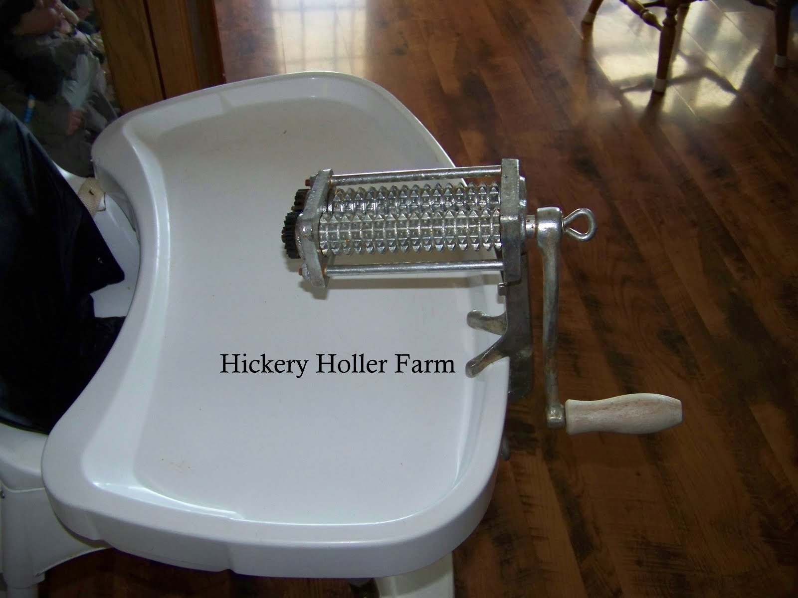Hand Crank Meat Tenderizer http://hickeryhollerfarm.blogspot.com/2012/10/pork-tenderloin-and-canadian-bacon.html