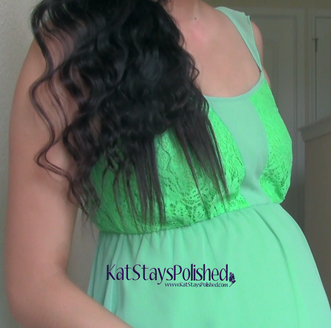 Pink Blush Maternity - Mint Green Chiffon Lace Accent Maternity Blouse | Kat Stays Polished