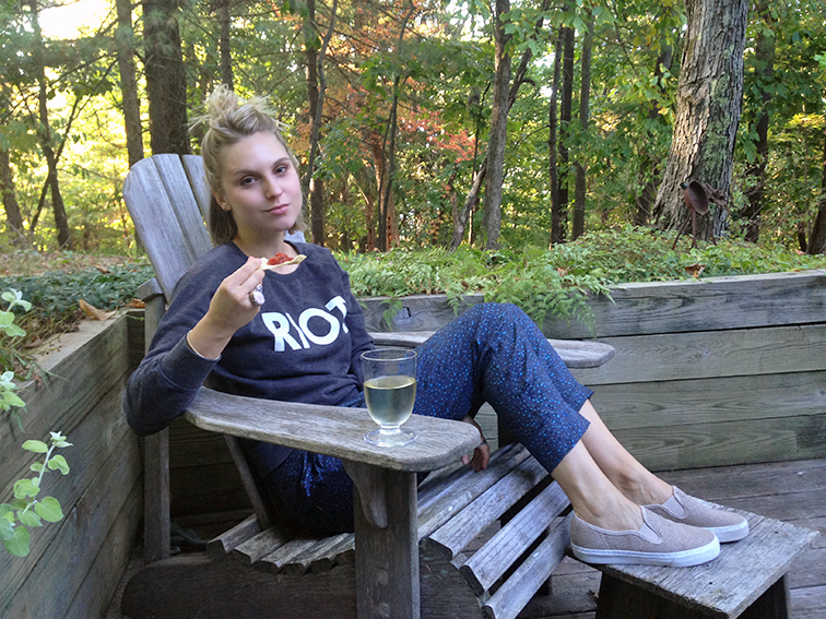 Hanging out om the porch at the cottage, relaxing Sauvignon Blanc, RIOT sweatshirt, Marc by Marc Jacobs silk pants, Gap snake embossed slip-on sneakers
