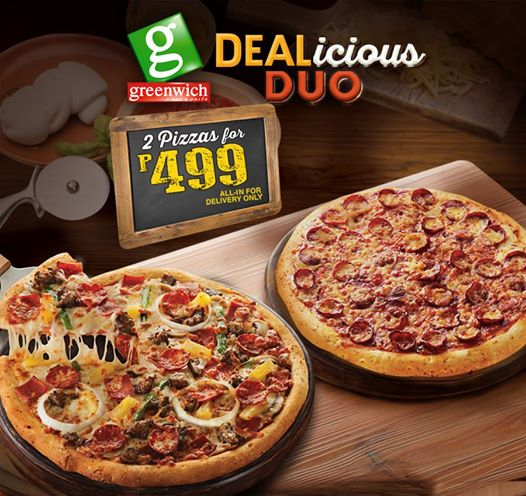 Greenwich's DEALicious Duo Promo Offers 2 Barkada Size Pizzas for Only Php499