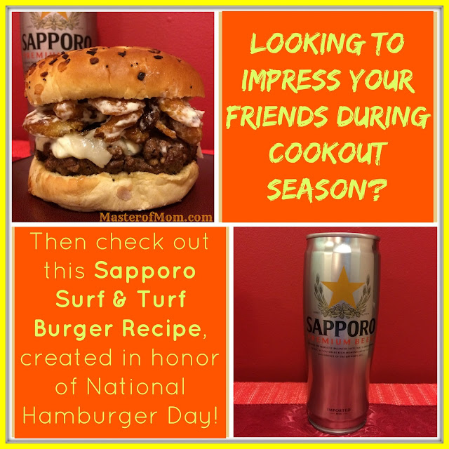 Sapporo Surf & Turf Burger Recipe #NationalHamburgerDay