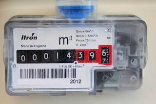 Photo of Metric gas meter reading in cubic meters m3