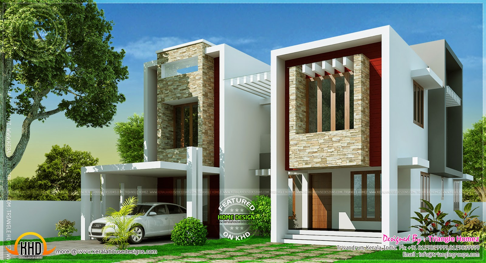 Modern villa design in 2275 square feet kerala home for Contemporary villa plans